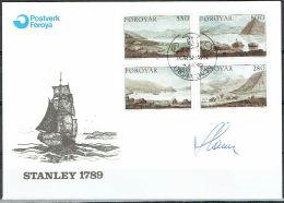 Czeslaw Slania. Faroe Islands 1985. Landscape Paintings.   Michel 112-15. FDC  Signed. - Féroé (Iles)