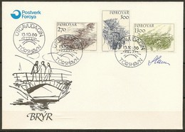 Czeslaw Slania. Faroe Islands 1986. Old Bridges.   Michel 142-44. FDC  Signed. - Féroé (Iles)