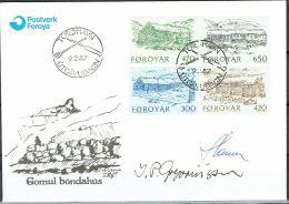 Czeslaw Slania. Faroe Islands 1987. Farmer Houses.   Michel 145-48. FDC  Signed. - Féroé (Iles)