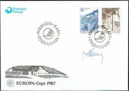 Czeslaw Slania. Faroe Islands 1987. CEPT.   Michel 149-50. FDC  Signed. - Féroé (Iles)