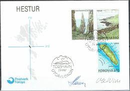 Czeslaw Slania. Faroe Islands 1987. Island Hestur.   Michel 154-58. FDC  Signed. - Féroé (Iles)