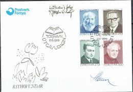 Czeslaw Slania. Faroe Islands 1988. Writers.   Michel 168-71. FDC  Signed. - Féroé (Iles)