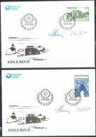 Czeslaw Slania. Faroe Islands 1988. Cathedral Of Kirkjubøur.   Michel 175-78. FDC  Signed. - Féroé (Iles)