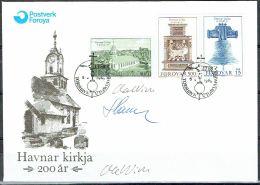 Czeslaw Slania. Faroe Islands 1989. 200 Anniv Church Of Tórshavn.   Michel 179-81. FDC  Signed. - Féroé (Iles)
