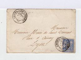 Sur Enveloppe Type Sage 25 C.bleu Type II. Oblitération Chateauneuf Sur Sornin. (643) - Marcophilie (Lettres)