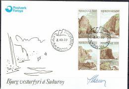Czeslaw Slania. Faroe Islands 1989. Landscapes.   Michel 190-93. FDC  Signed. - Féroé (Iles)
