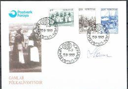 Czeslaw Slania. Faroe Islands 1995. Life On The Faroe Islands Around Year 1900.   Michel 285-87. FDC  Signed. - Féroé (Iles)