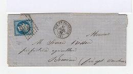 Sur Lettre Napoléon III 20 C. Bleu Type II. Oblitération Losange Grands Chiffres. (644) - Marcophilie (Lettres)