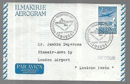 Finlande Aérogramme   Vol Helsinki  Londres  01 09 1954 - Airmail