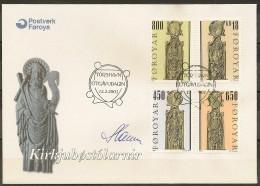 Czeslaw Slania. Faroe Islands 2001.  From Olafchurch In Kirkjubøur. Michel 387-90    FDC.  Signed. - Féroé (Iles)