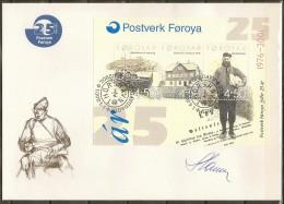 Czeslaw Slania. Faroe Islands 2001.  25 Anniv Faroe Island Post. Souvenir Sheet Michel Bl.10 FDC.  Signed. - Féroé (Iles)