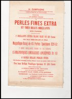 DEPLIANT   PERLES  FINES  EXTRA           H.CAMPAGNE - Cartes De Visite