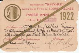 Portugal - Passe Anual Dos Caminhos De Ferro Da Sociedade Estoril 1922. - Season Ticket