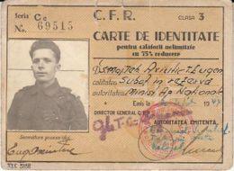 RAILWAYS IDENTITY CARD, 75% DISCOUNT TRAVEL TICKETS, PHOTO, 1944, ROMANIA - Tickets - Entradas