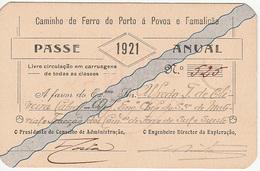 Portugal - Passe Anual Do Caminho De Ferro Do Porto à Póvoa E Famalicão - 1921 - Season Ticket