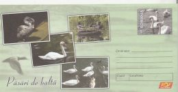 BIRDS, BLACK SWAN, WHITE SWAN, DUCK, WATER BIRDS, COVER STATIONERY, ENTIER POSTAL, 2015, ROMANIA - Swans