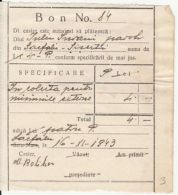 BILL FOR POSTAL SERVICES, 2 HUNGARIAN REVENUE STAMPS, 1943, ROMANIA - Invoices & Commercial Documents
