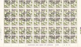 Uganda, 1969 - 40c Ipomea Spathulata, Foglio Di100 Piegato - Nr.120 Timbro I° Giorno - Uganda (1962-...)