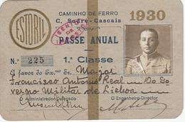 Portugal - Passe Anual Do Caminho De Ferro Cais Do Sodré -Cascais - De Militar - 1930 - Season Ticket