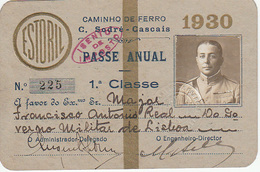 Portugal - Passe Anual Do Caminho De Ferro Cais Do Sodré -Cascais - De Militar - 1930 - Abonnements Hebdomadaires & Mensuels