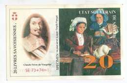 """Billet De Banque Régional Fictif Specimen """"20 Livres Savoisiennes 1998"""" Etat Souverain De Savoie - EURO"""