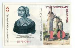 """Billet De Banque Régional Fictif Specimen """"10 Livres Savoisiennes 1998"""" Etat Souverain De Savoie - Essais Privés / Non-officiels"""