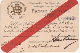Portugal - Passe Anual Da Companhia Dos Caminhos Portugueses Da Beira Alta - 1920 - Season Ticket