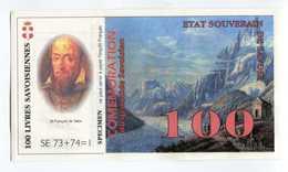 """Billet De Banque Régional Fictif Specimen """"100 Livres Savoisiennes 1998"""" Etat Souverain De Savoie - EURO"""