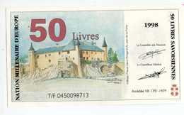 """Billet De Banque Régional Fictif Specimen """"50 Livres Savoisiennes 1998"""" Etat Souverain De Savoie - Essais Privés / Non-officiels"""