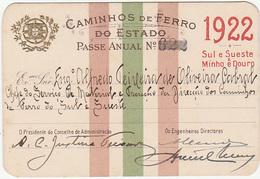 Portugal - Passe Anual Dos Caminhos De Ferro Do Estado 1922 - Sul E Sueste E Minho E Douro - Season Ticket