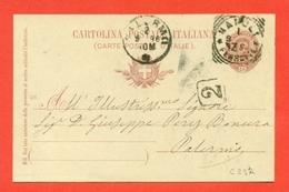 INTERI POSTALI REGNO-CARTOLINE POSTALI-CP 25 - MILL.96 - DA NAPOLI PER PALERMO - 1861-78 Vittorio Emanuele II