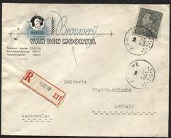 BRASSERIE BROUWERIJ - Lettre Recom. à Entête Bières VAN DEN MOORTEL Obl. ASSCHE 1941 Vers Leuven. COB20€ Belgique - Bières
