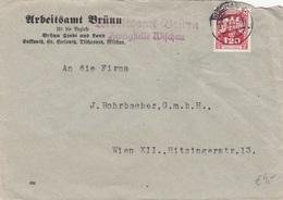 BÖHMEN + MÄHREN 1943 - 1,20 ? Auf Brief Vom Arbeitsamt Brünn, Gel.v. Brünn > Wien, Kuvert Beschädigt - Cartas