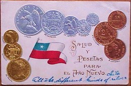 Cpa Gaufree MONNAIES Pièces Du CHILI 1902 PESO CENTAVOS OR ARGENT CUIVRE, Embossed COIN PESOS Gold Silver Early Pc - Monnaies (représentations)