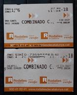 2018 RENFE ESPAÑA. 2 TICKET DIFERENTES DE TREN. - Trenes