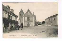 CPA (49) Blaison.L'église Et La Mairie.Animation Cheval. (B.373) - Autres Communes