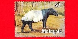 MALESIA - MALAYSIA - Usato - 1979 - Animali - Mammiferi - Tapiro - Tapirus Indicus - 2  - Piega .. - Malesia (1964-...)