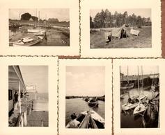 5 Petites Photos Originales Allemagne - En Voilier Et Ballade Du Côté De Otterndorf, Gustle, Elbe Kanal Beim Gehleppen, - Lieux
