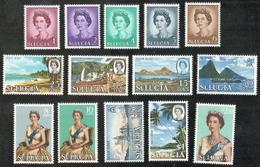 St Lucia,  Scott 2018 # 182-195,  Issued 1964,  Set Of 14,  MNH,  Cat $ 17.05,  QE II - St.Lucia (1979-...)