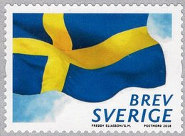 Sweden - 2018 - Swedish Flag - Mint Self-adhesive Coil Stamp - Unused Stamps