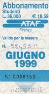 ABBONAMENTO AUTOBUS FIRENZE STUDENTI MAGGIO 2001 (BV101 - Abbonamenti