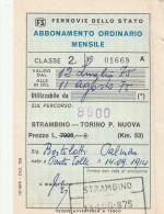 BIGLIETTO FERROVIARIO ABBONAMENTO 1975 8600 SS STRAMBINO TORINO (BV259 - Chemins De Fer