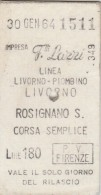 BIGLIETTO F.LLI LAZZI 1964 LIVORNO ROSIGNANO L.180 (BV279 - Bus