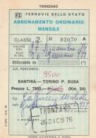 ABBONAMENTO ORDINARIO MENSILE FERROVIE SANTHIA-SUSA 1976 (BV358 - Abbonamenti