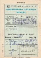 ABBONAMENTO ORDINARIO MENSILE FERROVIE SANTHIA-SUSA 1977 L.11400 (BV364 - Abbonamenti