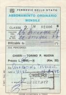 ABBONAMENTO ORDINARIO MENSILE FERROVIE CHIERI TORINO 1977 (BV365 - Abbonamenti