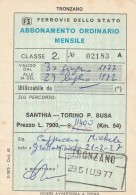 ABBONAMENTO ORDINARIO MENSILE FERROVIE SANTHIA-SUSA 1977 L.11400 (BV367 - Abbonamenti