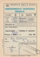 ABBONAMENTO FERROVIARIO MENSILE RACCONIGI TORINO 1971 (BV545 - Abbonamenti