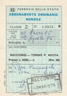 ABBONAMENTO FERROVIARIO MENSILE RACCONIGI TORINO 1975 (BV546 - Abbonamenti