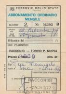ABBONAMENTO FERROVIARIO MENSILE RACCONIGI TORINO 1977 (BV547 - Abbonamenti